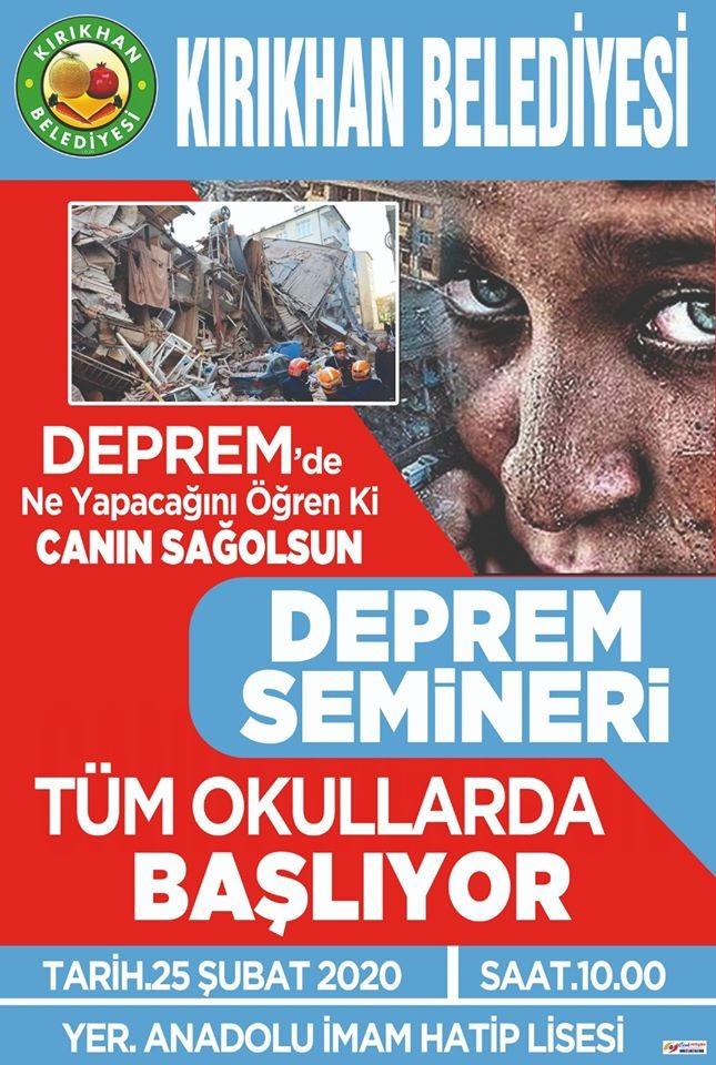 KIRIKHAN'DA DEPREM SEMİNERLERİ BAŞLIYOR