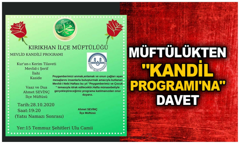 Kırıkhan'da Mevlid Kandili Programı düzenlenecek